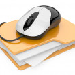 Stock Photo: Computer mouse connected to yellow folder