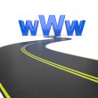 Internet symbol www and a long road — Stock Photo
