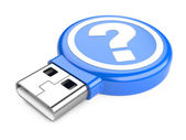 USB Flash Drive with question sign. 3d image — Stock Photo