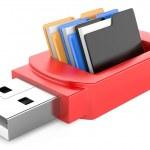 Usb flash drive and folders — Stock Photo #24963763