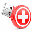 Usb flash drive and medical kit sign — Stock Photo