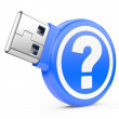 USB Flash Drive with question sign. 3d image — Stock Photo #24964177
