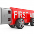 USB flash drive on Wheels - first aid concept — Stock Photo