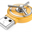 Stock Photo: USB flash drive and combination Lock