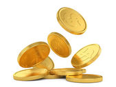 Golden falling coins — Stock Photo
