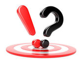 Exclamation and question mark and target — Stock Photo