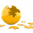 3d spherical puzzle with pieces missing. — Stock Photo