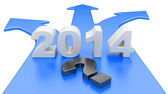 The concept of a choice of a way on a road fork - year 2014 — Stock Photo