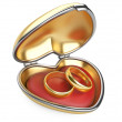 Stock Photo: Gold wedding rings in box
