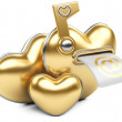 Stock Photo: Gold love mailbox.