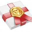 White box with gold sealing wax and red ribbon — Stock Photo #33277675