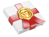 White box with gold sealing wax and red ribbon — Stockfoto
