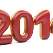 Stock Photo: 3D 2014 year red figures with golden edging