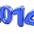 Stock Photo: 3D 2014 year blue figures with golden edging