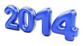 3D 2014 year blue figures with golden edging — Stock Photo