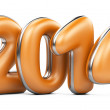 3D 2014 year orange figures with silver edging — Stock Photo