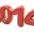 3D 2014 year red figures with golden edging — Stock Photo