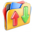 Download - upload folder 3d icon. — Stock Photo