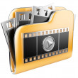 Stock Photo: Folders with a play button and film strip