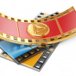 Film strip with a play button — Stock Photo #36107251