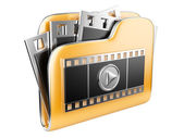 Folders with a play button and film strip — Stock Photo