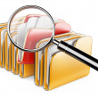 Folders and files search icon - folders under the magnifier.  — Stock Photo