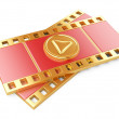 Film strip with a play button — Stock Photo