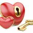 Red valentine heart  with a keyhole and key. — Stock Photo