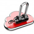 Cloud with key on white background. Isolated 3D image — Stock Photo