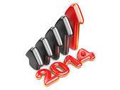 3D arrow with year 2014 growth upward — Stock Photo