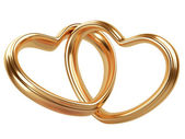 Two golden hearts shape — Stock Photo