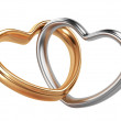 Two golden and silver hearts shape — Stock Photo #38667391