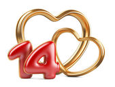 Red inscription 14 and two golden hearts shape — Stock Photo