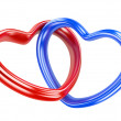 Two red and blue hearts shape — Stock Photo