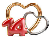 Red inscription 14 and two golden hearts shape — Foto de Stock