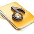 Folder and black note with speaker. Audio concept — Stock Photo