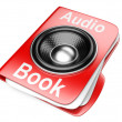 3d folder with speaker. audio-book concept — Stock Photo
