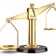 Stock Photo: Golden scales of justice or a medical scales