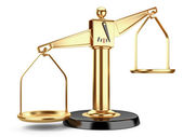 Golden scales of justice or a medical scales — Stock Photo