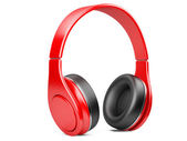 Red modern headphones isolated on white — Stock Photo