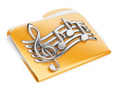 Orange files folder, 3d icon with musical notes — Stockfoto