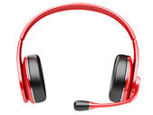 Red modern headphones with microphone — Stock Photo