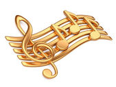 Golden musical notes. — Stock Photo