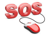 Computer mouse connected to the word sos - internet concept — Stock Photo