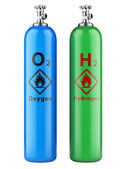 Hydrogen and oxygen cylinders with compressed gas — Stock Photo
