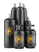 Black cylinders with compressed gas — Stock Photo