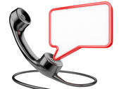 Handset icon with chat bubble — Stock Photo