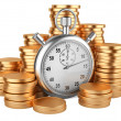 Time is money - 3d illustration of stopwatch and gold coins — Stock fotografie