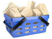 Shopping cart full with boxes — Stock Photo