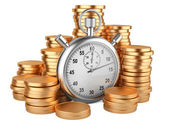 Time is money - 3d illustration of stopwatch and gold coins — Foto de Stock